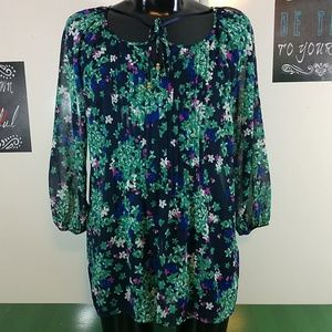 Charter  Club Floral 3/4 Drop Sleeve Blouse